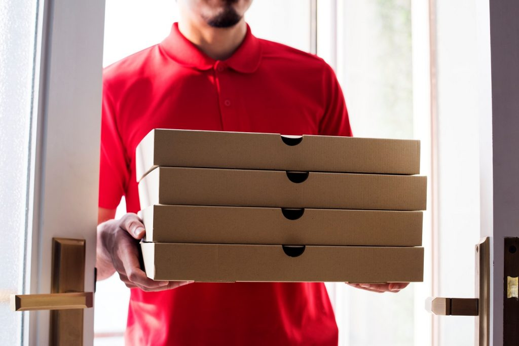 Cardboard boxes pizza delivery