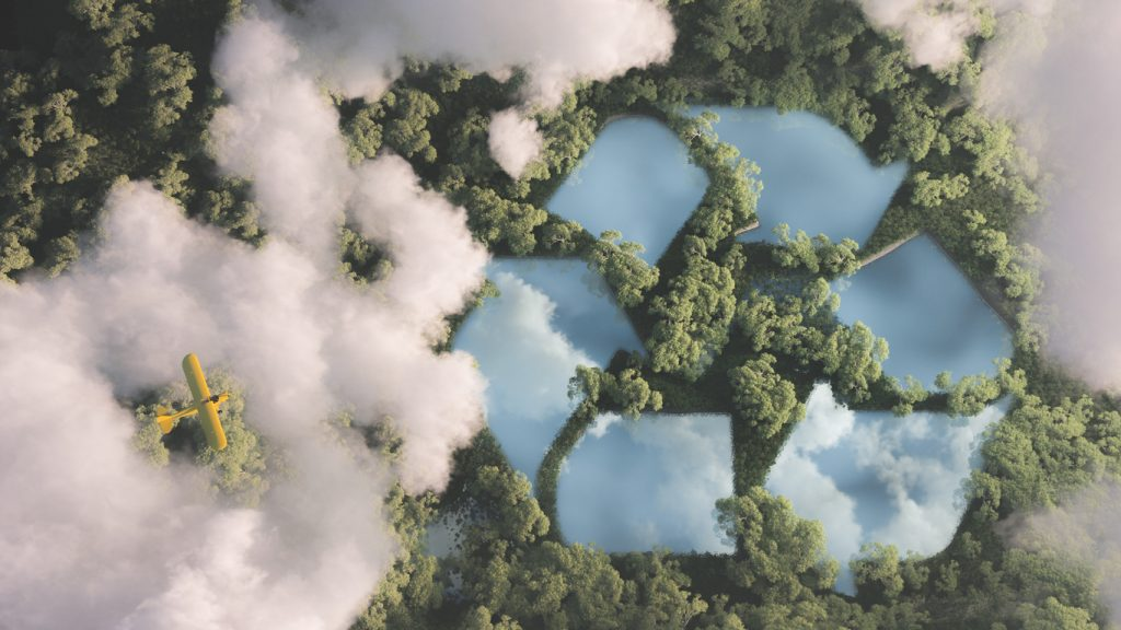 Recycling during Coronavirus concept