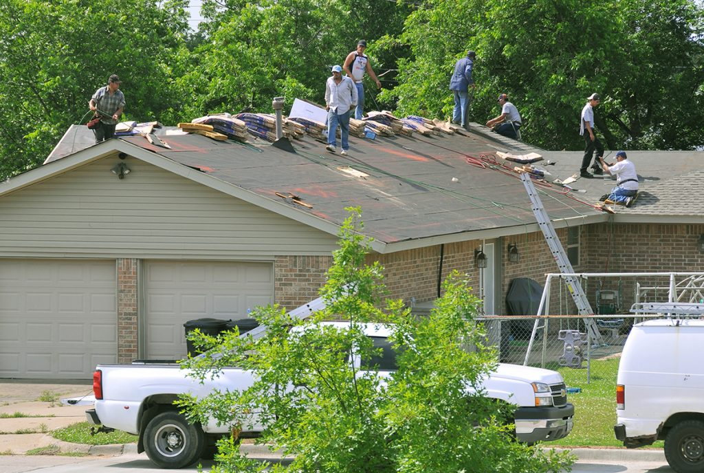 Roof repair with cardboard