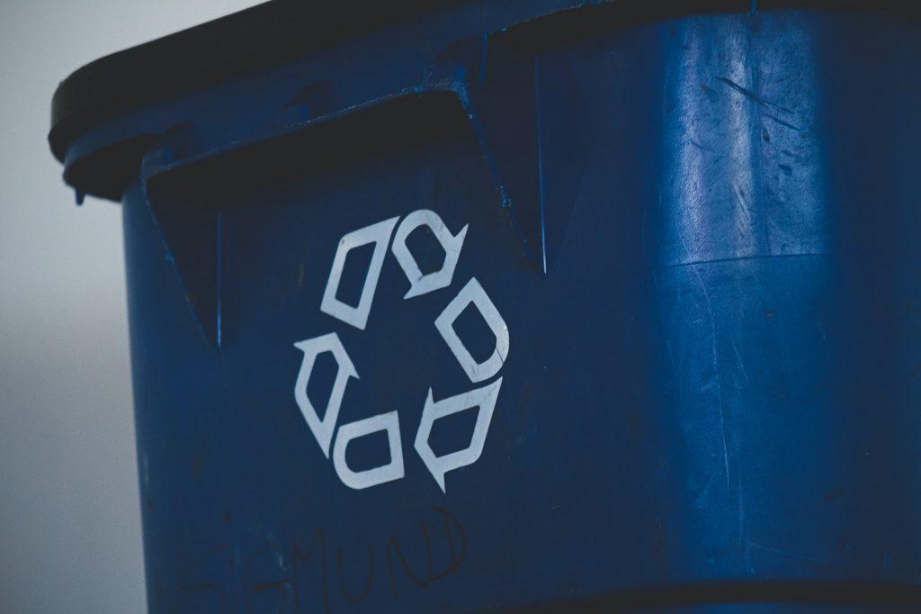 Business recycling program office bins